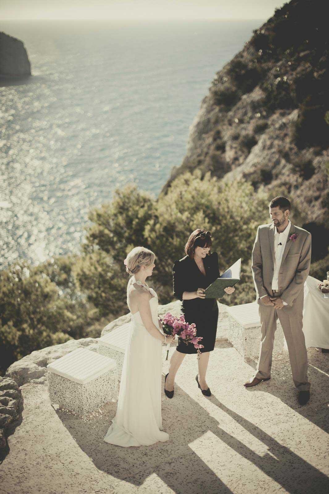 Beach cliff wedding